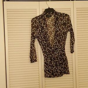 KAREN KANE sheer leopard print blouse